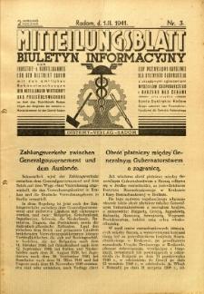 Mitteilungsblatt der Industrie-u. Handelskammer für den Distrikt Radom = Wydawnictwo Informacyjne Izby Przemysłowo-Handlowej dla Dystryktu Radomskiego, 1941, R. 2, nr 3