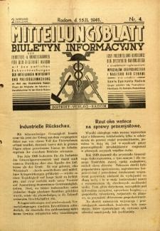 Mitteilungsblatt der Industrie-u. Handelskammer für den Distrikt Radom = Wydawnictwo Informacyjne Izby Przemysłowo-Handlowej dla Dystryktu Radomskiego, 1941, R. 2, nr 4