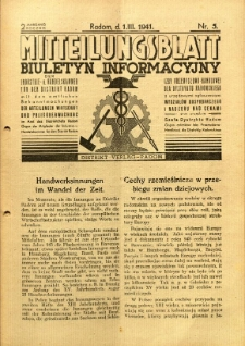 Mitteilungsblatt der Industrie-u. Handelskammer für den Distrikt Radom = Wydawnictwo Informacyjne Izby Przemysłowo-Handlowej dla Dystryktu Radomskiego, 1941, R. 2, nr 5