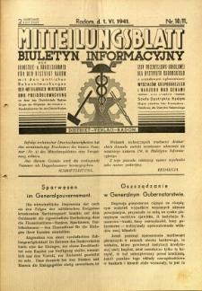 Mitteilungsblatt der Industrie-u. Handelskammer für den Distrikt Radom = Wydawnictwo Informacyjne Izby Przemysłowo-Handlowej dla Dystryktu Radomskiego, 1941, R. 2, nr 10/11