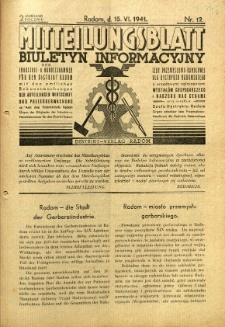 Mitteilungsblatt der Industrie-u. Handelskammer für den Distrikt Radom = Wydawnictwo Informacyjne Izby Przemysłowo-Handlowej dla Dystryktu Radomskiego, 1941, R. 2, nr 12