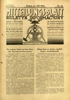 Mitteilungsblatt der Industrie-u. Handelskammer für den Distrikt Radom = Wydawnictwo Informacyjne Izby Przemysłowo-Handlowej dla Dystryktu Radomskiego, 1941, R. 2, nr 15