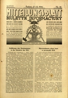 Mitteilungsblatt der Industrie-u. Handelskammer für den Distrikt Radom = Wydawnictwo Informacyjne Izby Przemysłowo-Handlowej dla Dystryktu Radomskiego, 1941, R. 2, nr 17