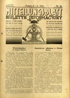 Mitteilungsblatt der Industrie-u. Handelskammer für den Distrikt Radom = Wydawnictwo Informacyjne Izby Przemysłowo-Handlowej dla Dystryktu Radomskiego, 1941, R. 2, nr 19