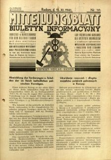 Mitteilungsblatt der Industrie-u. Handelskammer für den Distrikt Radom = Wydawnictwo Informacyjne Izby Przemysłowo-Handlowej dla Dystryktu Radomskiego, 1941, R. 2, nr 20