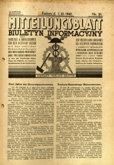 Mitteilungsblatt der Industrie-u. Handelskammer für den Distrikt Radom = Wydawnictwo Informacyjne Izby Przemysłowo-Handlowej dla Dystryktu Radomskiego, 1941, R. 2, nr 21