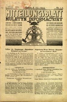 Mitteilungsblatt der Industrie-u. Handelskammer für den Distrikt Radom = Wydawnictwo Informacyjne Izby Przemysłowo-Handlowej dla Dystryktu Radomskiego, 1942, R. 3, nr 1/2