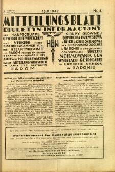 Mitteilungsblatt der Industrie-u. Handelskammer für den Distrikt Radom = Wydawnictwo Informacyjne Izby Przemysłowo-Handlowej dla Dystryktu Radomskiego, 1942, R. 3, nr 4