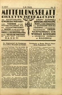 Mitteilungsblatt der Industrie-u. Handelskammer für den Distrikt Radom = Wydawnictwo Informacyjne Izby Przemysłowo-Handlowej dla Dystryktu Radomskiego, 1942, R. 3, nr 5