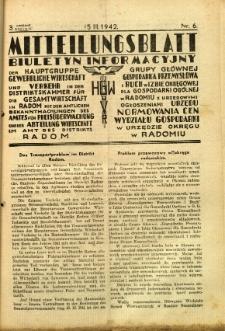 Mitteilungsblatt der Industrie-u. Handelskammer für den Distrikt Radom = Wydawnictwo Informacyjne Izby Przemysłowo-Handlowej dla Dystryktu Radomskiego, 1942, R. 3, nr 6