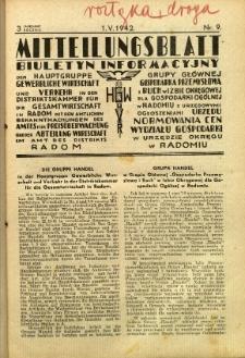 Mitteilungsblatt der Industrie-u. Handelskammer für den Distrikt Radom = Wydawnictwo Informacyjne Izby Przemysłowo-Handlowej dla Dystryktu Radomskiego, 1942, R. 3, nr 9