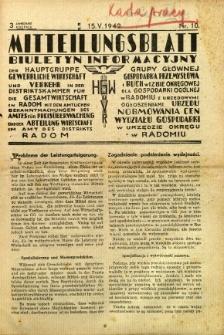 Mitteilungsblatt der Industrie-u. Handelskammer für den Distrikt Radom = Wydawnictwo Informacyjne Izby Przemysłowo-Handlowej dla Dystryktu Radomskiego, 1942, R. 3, nr 10
