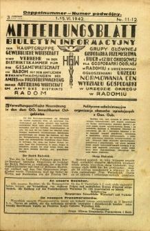 Mitteilungsblatt der Industrie-u. Handelskammer für den Distrikt Radom = Wydawnictwo Informacyjne Izby Przemysłowo-Handlowej dla Dystryktu Radomskiego, 1942, R. 3, nr 11/12