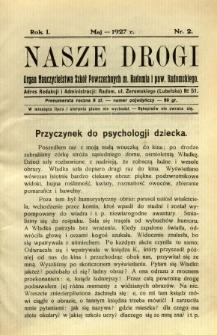 Nasze Drogi, 1927, R. 1, nr 2