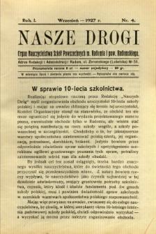 Nasze Drogi, 1927, R. 1, nr 4