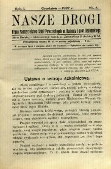 Nasze Drogi, 1927, R. 1, nr 7