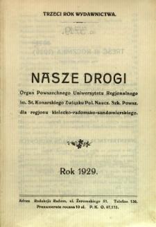 Nasze Drogi, 1929, R. 3 - Treść trzeciego rocznika
