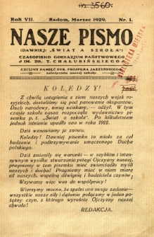 Nasze Pismo, 1929, R. 7, nr 1