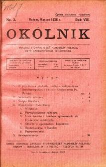 Okólnik Związku Stowarzyszeń Młodzieży Polskiej Ziemi Sandomiersko - Radomskiej, 1928, R. 8, nr 3