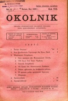 Okólnik Związku Stowarzyszeń Młodzieży Polskiej Ziemi Sandomiersko - Radomskiej, 1928, R. 8, nr 5