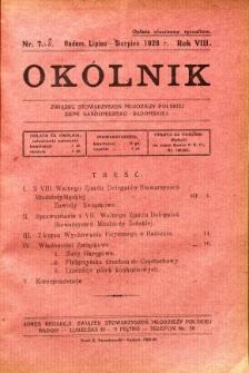 Okólnik Związku Stowarzyszeń Młodzieży Polskiej Ziemi Sandomiersko - Radomskiej, 1928, R. 8, nr 7-8