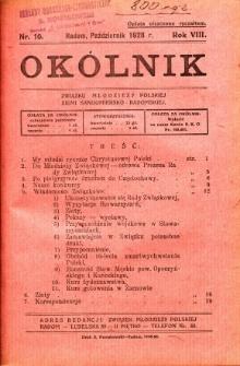 Okólnik Związku Stowarzyszeń Młodzieży Polskiej Ziemi Sandomiersko - Radomskiej, 1928, R. 8, nr 10