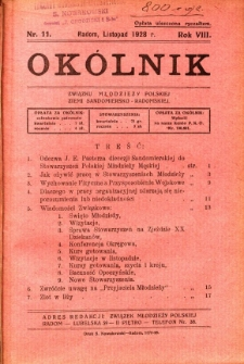 Okólnik Związku Stowarzyszeń Młodzieży Polskiej Ziemi Sandomiersko - Radomskiej, 1928, R. 8, nr 11