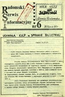 Radomski Serwis Informacyjny, 1981, nr 6