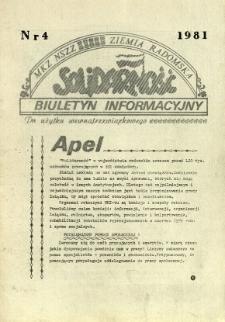 Biuletyn Informacyjny MKZ NSSZ Solidarność Ziemia Radomska, 1981, nr 4