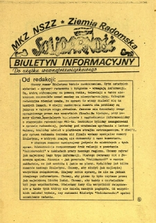 Biuletyn Informacyjny MKZ NSSZ Solidarność Ziemia Radomska, 1981, 1981-04