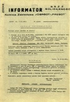 """Informator NSZZ Solidarność : Komisja Zakładowa -OBRŚOT-""""PREBOT"""", 1981, 1981-03-17"""