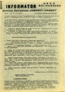"""Informator NSZZ Solidarność : Komisja Zakładowa -OBRŚOT-""""PREBOT"""", 1981, 1981-03-26"""