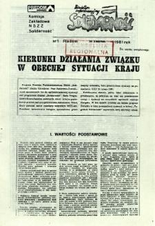 Biuletyn Informacyjny Solidarność, 1981, nr 1