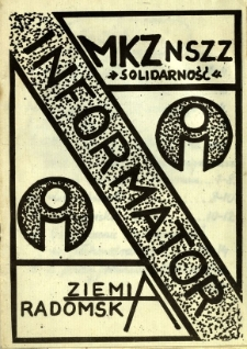 Informator MKZ NSZZ Solidarność Ziemi Radomskiej, 1981, nr 1