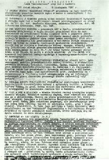 Biuletyn Strajkowy NSZZ Solidarność przy WSI w Radomiu, 1981-11-19