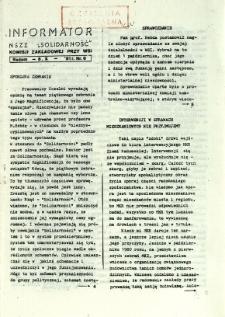 Informator NSZZ Solidarność : Komisji Zakładowej przy WSI, 1981, nr 6