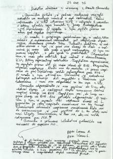 Notatka służbowa z dnia 27 listopada 1976 r.