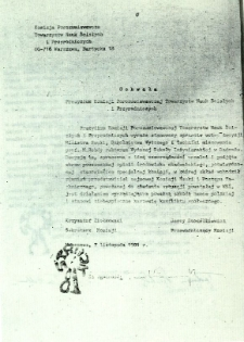 Uchwała Prezydium Komisji Porozumiewawczej Towarzystw Nauk Ścisłych i Przyrodniczych