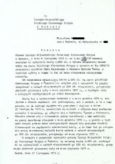 Do Zarządu Wojewódzkiego Czerwonego Krzyża w Radomiu