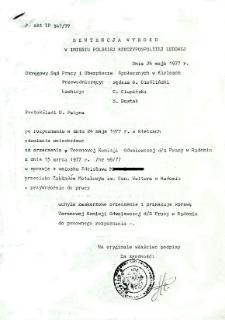 Sentencja wyroku w imieniu Polskiej Rzeczypospolitej Ludowej oraz Uzasadnienie