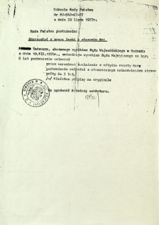 Uchwała Rady Państwa Nr BU-540-27-77, z dnia 29 lipca 1977 r.