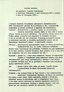 Notatka służbowa ze spotkania Wojewody Radomskiego z Komitetem Strajkowym w sali konferenc. WRZZ w Radomiu w dniu 25 listopada 1980 r.