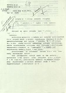 """Uchwała nr 1 Walnego Zebrania Delegatów NSZZ """"Solidarność"""" Ziemia Radomska, z dnia 17 lipca 1981 r."""