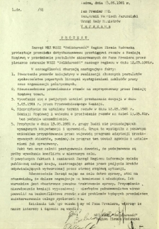 Protest, z dnia 15.11.1981 r.