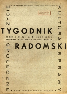 Tygodnik Radomski, 1933, R. 1, nr 6