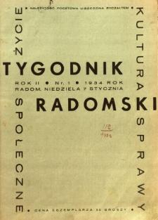 Tygodnik Radomski, 1934, R. 2, nr 1