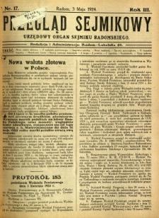 Przegląd Sejmikowy : Urzędowy Organ Sejmiku Radomskiego, 1924, R. 3, nr 17