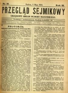 Przegląd Sejmikowy : Urzędowy Organ Sejmiku Radomskiego, 1924, R. 3, nr 18