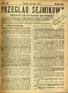 Przegląd Sejmikowy : Urzędowy Organ Sejmiku Radomskiego, 1924, R. 3, nr 19
