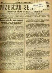Przegląd Sejmikowy : Urzędowy Organ Sejmiku Radomskiego, 1924, R. 3, nr 22